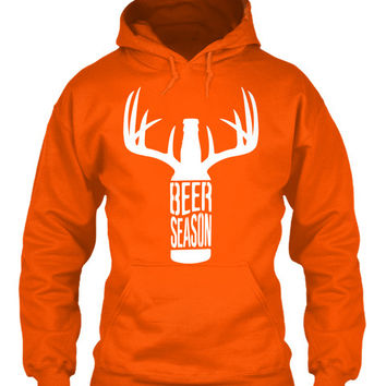 Beer season adult deer hunting orange hoodie for men New