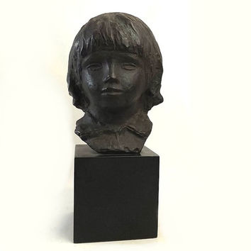 Head Of Coco Cast Bust, After Pierre Auguste Renoir Sculpture, Vintage 1958 Alva Studios Museum Replica Statue
