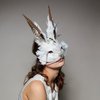 Decorative White Rabbit Mask, Bespoke Rabbit Mask With Real Feathers, White Feather Hare, Headdress, Carnival Mask, Masquerade
