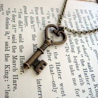 The Josephine Antiqued Key Necklace by sodalex on Etsy