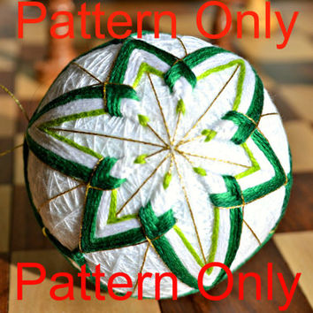 Snowdrop Temari Pattern, Japanese Temari Tutorial, Green and White Temari Ball Pattern, Embroidery Tutorial, Japanese Embroidery Pattern