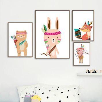 Cartoon Indian Rabbit Bear Fox Pig Wall Art Canvas Painting Nordic Posters And Prints Wall Pictures For Baby Boy Kids Room Decor