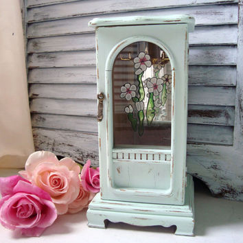 Shabby Chic Vintage Jewelry Box, Light Green Jewelry Holder, Necklace Holder, Painted Jewelry Box with Floral Glass Etching