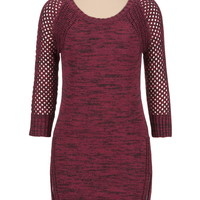 Burgundy Mixed Stitch Marled Sweater Dress - Red