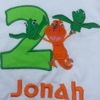 Dinosaur Train Birthday Number Shirt/ Oneise with Monogram