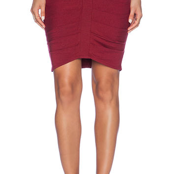 Heather Descending Pleat Skirt in Red