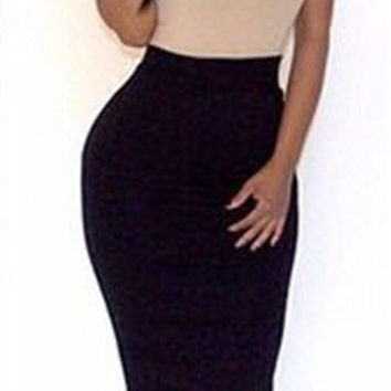 Color Block Strappy Bodycon Midi Dress