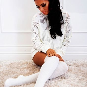 Note Cream Heart Mesh Knitted Jumper | Pink Boutique