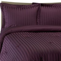 Wamsutta® Damask Stripe Comforter Set in Purple