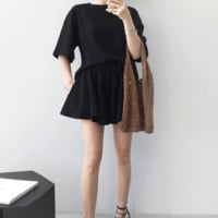 Half Sleeve T-Shirt And Pleated Flared Shorts (Set)
