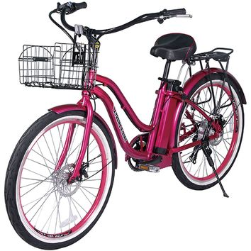 X-Treme Malibu Elite Step Through Beach Cruiser Electric Bicycle Bike Pink NEW
