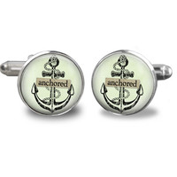 Anchored Cufflinks - Nautical jewelry - ocean gift - gifts for men - cuff links accessories - christmas gifts for dad - gift for him