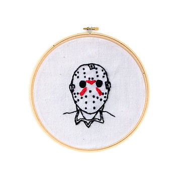 """Friday the 13th Jason Voorhees 4"""" Embroidery Hoop Wall Hanging Horror Wall Art"""
