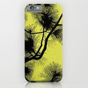 Desert flora, black on yellow pattern, flowers in night light on canvas background iPhone & iPod Case by Peter Reiss