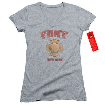 FDNY Juniors V-Neck T-Shirt New York City Fire Dept Vintage Heather Tee