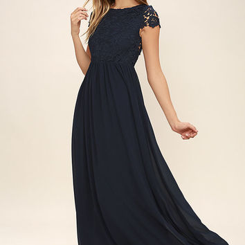The Greatest Navy Blue Lace Maxi Dress