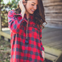 Checkmate Flannel in Red and Grey