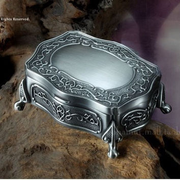 metal jewelry box/ pewter plated big size trinket box/ gift box for wedding