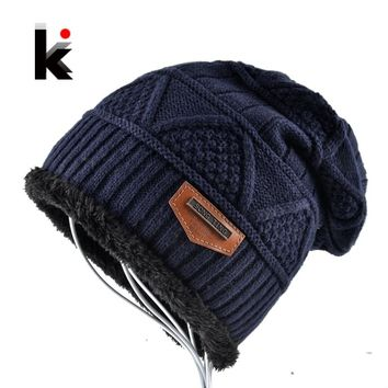Men's Skullies Hat Bonnet Winter Beanie Knitted Wool Hat Plus Velvet Cap Thicker Mask Fringe Beanies Hats for men