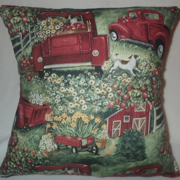 Decorative Pillow Cover, Throw pillow Cover,  18 x 18, Home Decor, Antique Red Truck, Brittany, Dog, Apples, Flowers, Barn, Meadow, Fence