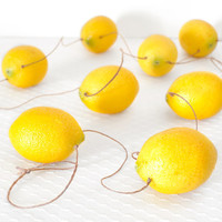 Lemon Zest Fruit Garland Yellow Kitchen Neon Home Decor or Decoration for Summer Weddings, Baby Showers and Birthday Parties - 5.3 feet -