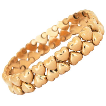 Cartier Heart Link Motif Double Row Gold Bracelet
