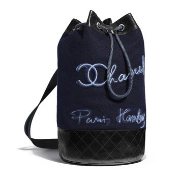 Embroidered Wool, Calfskin & Silver-Tone Metal Navy Blue & Blue Backpack | CHANEL