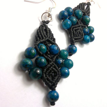 Handmade macrame earrings made with azurite chrysocolla gemstone beads,  wax cord  and sterling silver earring hocks