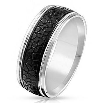 Sea Monster - FINAL SALE Black IP silver stainless steel crocodile skin pattern men's ring