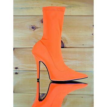 "CR Neon Orange Pull On Stretch Extreme Pointy Toe Ankle Boot 4"" High Heels"