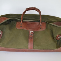Vintage Green Orvis Battenkill Canvas Leather Duffle Bag