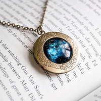 Outer Space Nebula - Antiqued Brass Round Locket