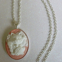 Peach Lucky Cat Cameo Necklace
