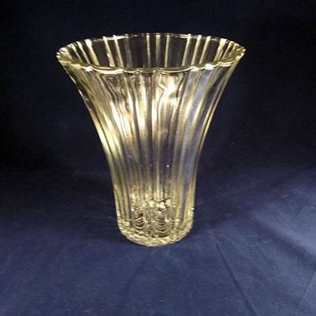 Clear Vertically Ribbed Trumpet Vase