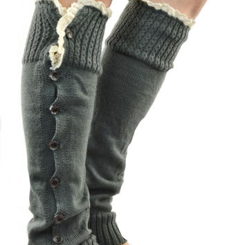 Leg Warmers Darling Country Black Button Down Lace Top Boot Socks Leg Warmers Women's Girl's Youth