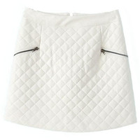 ROMWE | Double Zippered Check White Skirt, The Latest Street Fashion