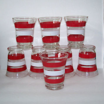 Mid Century Small Juice Glasses Red & White 3 ounces