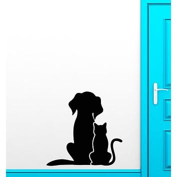 Vinyl Wall Decal Cat And Dog  Pets Veterinary Clinic Grooming Salon Stickers (3306ig)