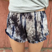 Grey/Navy Tie Dye Ruffle Shorts
