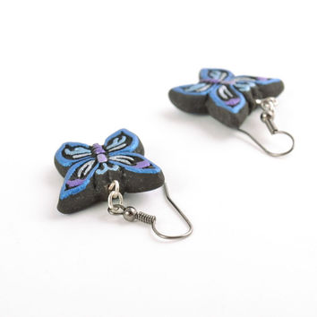 Beautiful handmade clay earrings in the shape of butterflies painted with acrylics