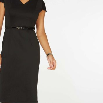Black Scuba Belted Pencil Dress | Dorothyperkins