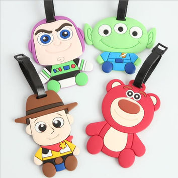 Toy Story Woody Buzz Lightyear Bear creative silicone luggage tag pendants hang tags checked brand tourist products KT1039