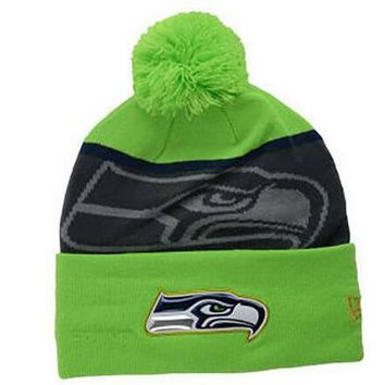 Men's Seattle Seahawks New Era Green/Graphite Gold Collection Classic Team Color Knit Hat-Current Logo