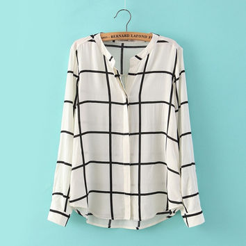 women gingham shirting plaid casual blouses v neck long sleeve office shirts loose tops LT178
