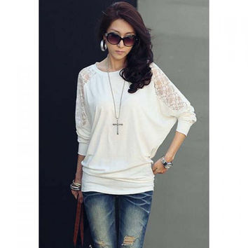 Women's Batwing Top Dolman Long Sleeve Lace Loose T-Shirt Blouse