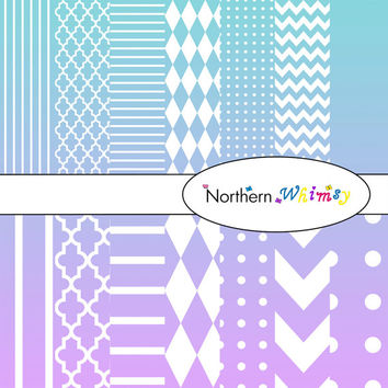 Digital Scrapbooking Paper Background Set – Aqua Blue and Lavender Ombre - stripe, chevron, polka dot, stripe, harlequin, & quatrefoil