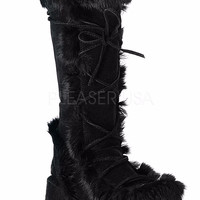 "Cubby 311 Black Furry FX Fur 2.75"" Platform Wedge Boot"