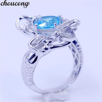 choucong cute Mermaid ring cushion cut 8mm sky blue Birthstone Cz 925 Sterling Silver Filled Wedding Band Ring for Women jewelry