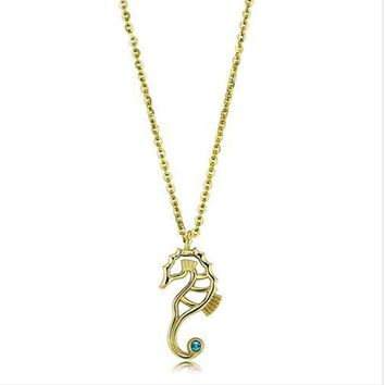 Seahorse Pendant Yellow Gold Plated Cz Necklace