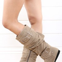 DbDk Xally4 Nude Buckle Knee High Flat Boots and Shop Boots at MakeMeChic.com